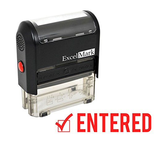 ExcelMark ENTERED Self-Inking Rubber Stamp - Red Ink (A1539)