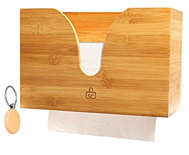 Bamboo Paper Towel Dispenser For Use In Kitchen U0026 Bathroom   Countertop /  Wall Mount Multifold