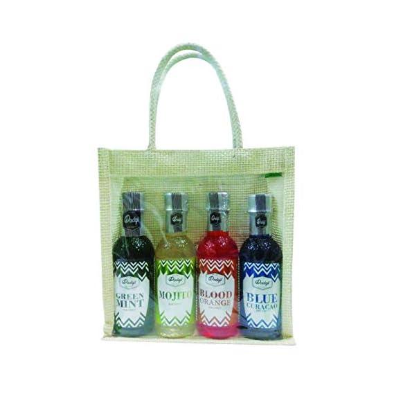 Sancheti Shree Ganesh Dadaji Chotu Mocktail Pack with Jute Bag (Blue Lagoon, Green Mint, Blood Orange, Mojito, 250 ml)