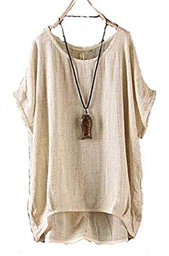 ほのか旋律的道レディース 綿+麻 半袖 Tシャツ 大きいサイズ トップス