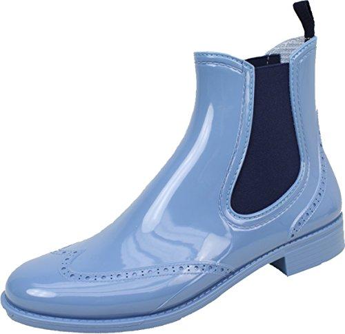 BOCKSTIEGEL® CHELSEA Mujer - Medio Botas de goma con estilo | Chelsea Boots | A prueba de agua | Elegante | Exclusivo Light blue / DK - Blue