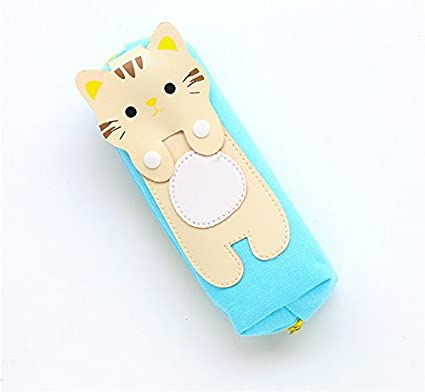 Gifts UK - Estuches de lona para cosméticos o maquillaje, diseño de gatos, color Light Blue Case with Beige Cat: Amazon.es: Oficina y papelería