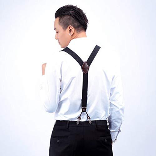 Hombres 4 Clips Tirantes Cintur/ón Ajustable Jacquard Tirantes con espalda en Y para pantalones Azul oscuro