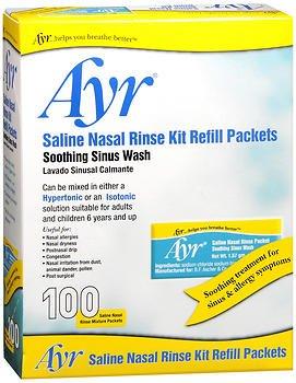 (Ayr Saline Nasal Rinse Kit Refill Packets - 100 ct, Pack of 5)