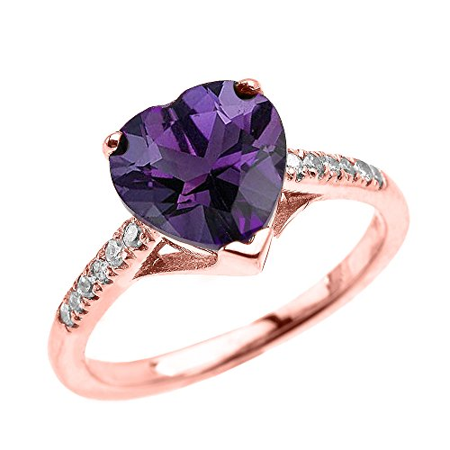 Dainty 10k Rose Gold Solitaire Heart Amethyst and Diamond Engagement Proposal Ring (Size (Gold Heart Diamond Solitaire Ring)