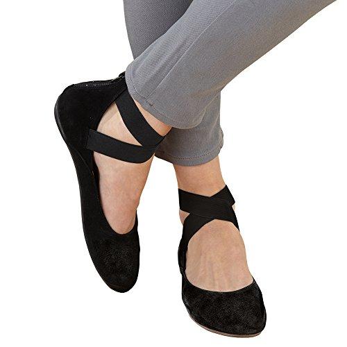 Women's Arabesque Strappy Ballet Flats – Zip Back – Suede – Black – 37
