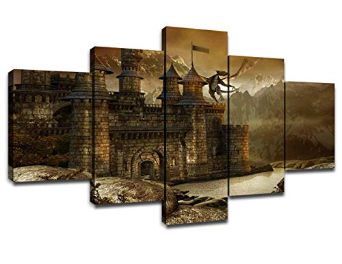 Chicicio Castle with Dragon Wall Art Canvas Prints Painting Picture for Living Room Bedroom Decor Framed Poster Large Artwork Boys Room Decoration Ready to Hang(60''Wx32''H)
