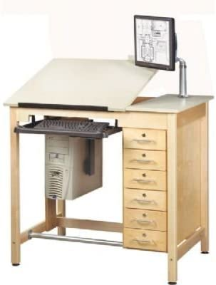 "Computer Aided Design 42""W x 30\""D Drawing Table Computer Mount: Flexible Monitor Arm, Drawers: Included"