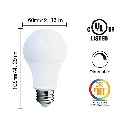 HL A19 LED Dimmable Bulbs, 10w (60w Equivalent), 2700k ...