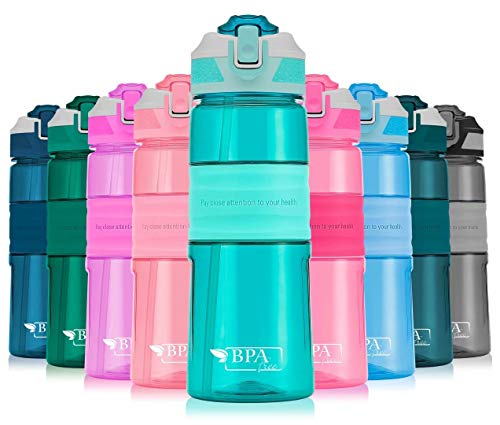 Portable Drinking Straw Sports Water Bottle Leakproof BPA-Free Tritan Plastic Water Bottle 15/22/35oz One Click Flip Cap for Outdoor/Camping/Running/Gym/