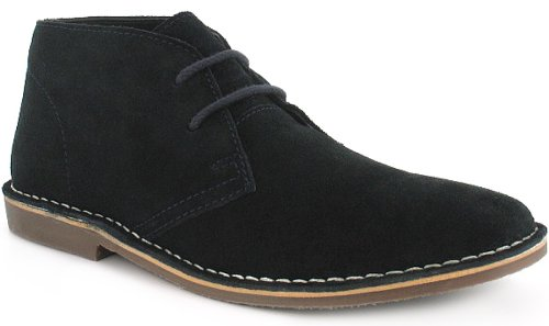New MensGents Blue Red Tape Lace Up Suede Upper Desert Boots  Navy
