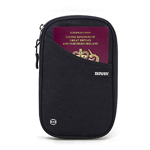 DEFWAY Passport Holder Travel Wallet - Small Passport Travel Wallet RFID Blocking Document Organiser Case for Women Men