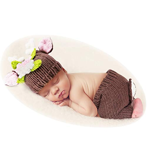Yokumo Deer Design Costume Newborn Baby Girl Photography Props Photo Shoot Clothes Hat Pants Outfits Brown -