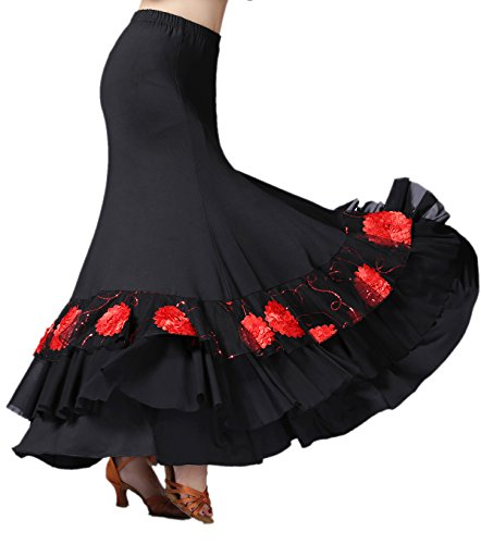 whitewed Long Floral Ballroom Waltz Foxtrot Latin Flamenco Party Square Dancing Skirts Black/Red,One Size
