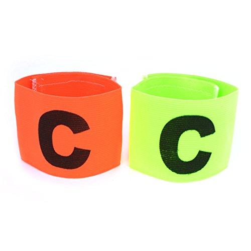 2 Stücke Klettverschluss Orange grün elastisch Football Kapitänsbinde Armband de
