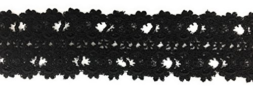 Fancy 2 Inch Black Venice Lace In Black Cotton Embroidered Trim Ribbon For Garment Home Decor DIY Craft Supply By 3 Yards