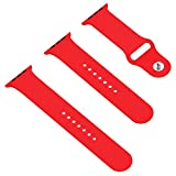 Apple Watch Band, JETech Soft Silicone Replacement Sport Band for Apple Watch All 42mm Models (Red)
