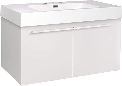 Fresca Vista White Modern Bathroom Base Cabinet with Integrated Sink