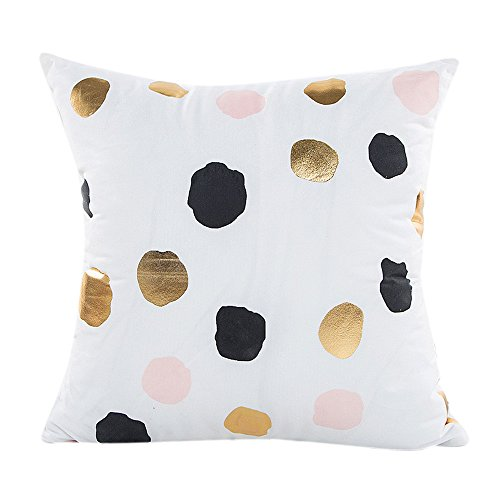 Birdfly Metallic Gold Foil Print Throw Pillow Cases Hidden Zipper White Square Cushion Covers Decorative Pillowcase Home Office Room Bedding Sofa Car Party Decoration (Polk (Dots Kids Rug)