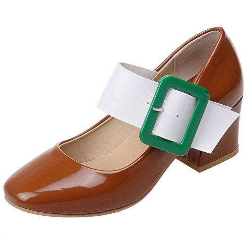 COOLCEPT Damen Mode Mary Janes Pumps Geschlossene Blockabsatz Schuhe Braun