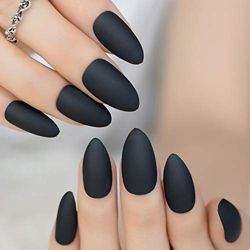 - Classic Pure Black Matte Stiletto Frosted False Fake Nail Tips Oval Sharp Pointed Full Cover Artificial Manicure Salon Nails matte black
