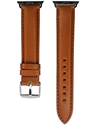 Apple Watch Extra Long Band, YQI Light Brown Genuine Leather Strap for iWatch Black Adapter 85x125mm (42mm, Brown...