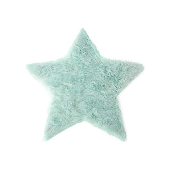 Machine Washable Faux Sheepskin Mint Star Rug 3′ x 3′ – Soft and silky – Perfect for baby's room, nursery, playroom (Star Large Mint)