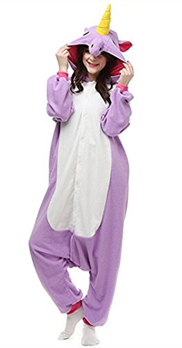 Halloween Pajamas Unicorn OnePiece Onesie Cosplay Costumes Animal Outfit Loungewear, Purple, Size L for 66-70