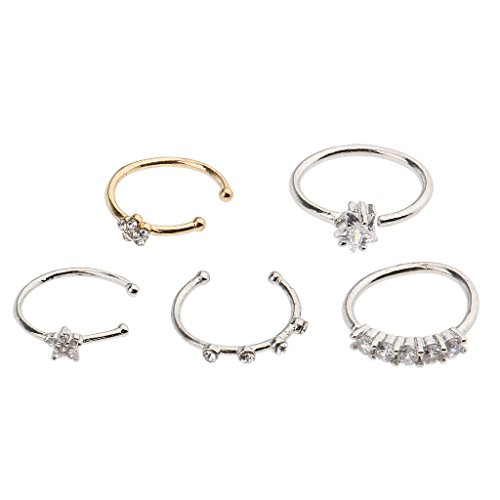 Crystal Flower Hoop (Baosity 5Pcs/Bag Assort Styles Star Flower Small Rhinestone Crystal Jewelry Nose Ring Hoop Studs Piercing for Women Lady 1mm 18g)