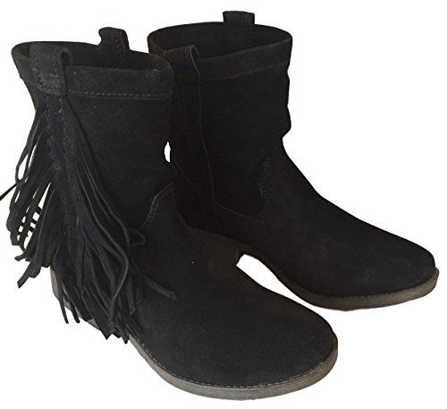 Paris 70 Ankle Black Boot Suede Post With Fringe Daniela rrqw5z