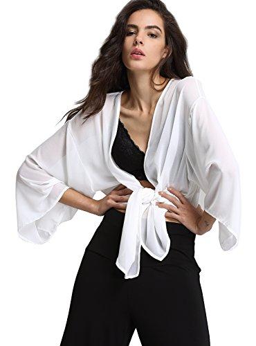 Escalier Women's White Light Loose Chiffon Sheer Kimono Cardigan (Peaches Cardigan Style Jacket)