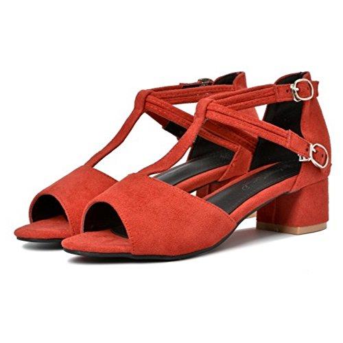 COOLCEPT Mujer Moda Correa en T Sandalias Tacon Ancho Peep Toe Zapatos Rojo