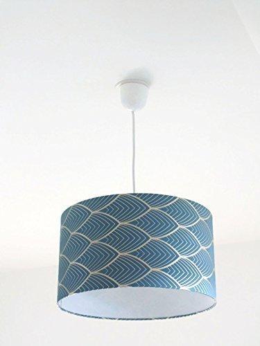 Lustre suspension plafonnierabat-jour art déco géométrique bleu et argent Luminaire diamètre personnalisé cylindre rond idée cadeau anniversaire décoration tendance