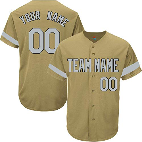 Gold Custom Baseball Jersey for Men Women Youth Game Embroidered Team Player Name & Numbers S-5XL Gray Black -