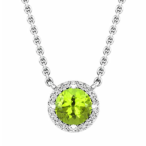 14K White Gold Round Peridot And White Diamond Ladies Halo Pendant (Silver Chain Included)