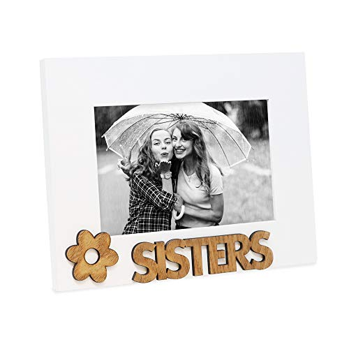 """Isaac Jacobs White Wood Sentiments """"Sisters"""" Picture Frame, 4x6 inch, Photo Gift for Family, Display on Tabletop, Desk"""