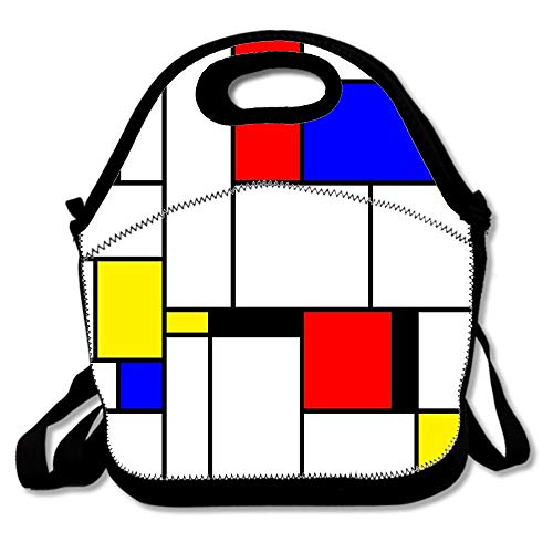 e9ec0cf93a06 Mondrian Reusable Lunch Bags Printed Strap & Extra Insulated Neoprene Lunch  Boxes for Women Men