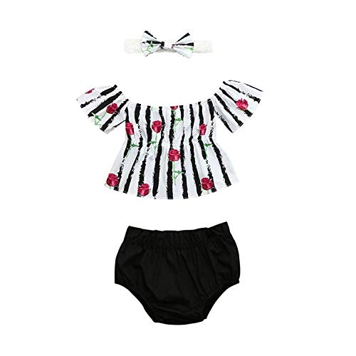 Efaster Baby Girls Rose Striped Print Off Shoulder Tops+Shorts+Headband Set