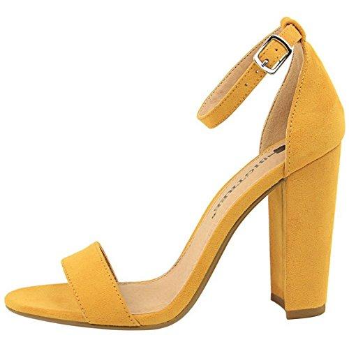 Mujer Alto Amarillo Zanpa Sandalias Tacon Ancho 8wqWdgv