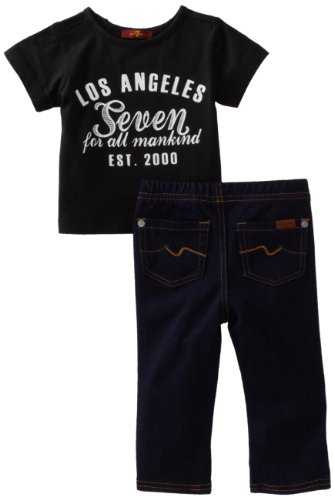 7 For All Mankind Baby Boys' Logo Graphic Denim Set