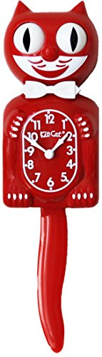 Kit Cat Klock Gentlemen with Batteries Included (Scarlett Red) (Black Cat Clock With Moving Eyes And Tail)