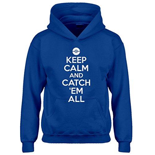 Kids Hoodie Keep Calm and Catch em All! Medium Royal Blue Hoodie