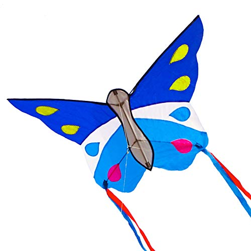 Besra Huge Butterfly Kite Single Line Easy to Fly Insect Nylon Kite with Handle & Strings for Kids & Adults (Blue)