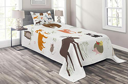 Lunarable Cabin Coverlet Set Twin Size, Cute Animals in The Springtime Meadow Childish Woodland Fauna Kids Baby Room Nursery, 2 Piece Decorative Quilted Bedspread Set with 1 Pillow Sham, Multicolor