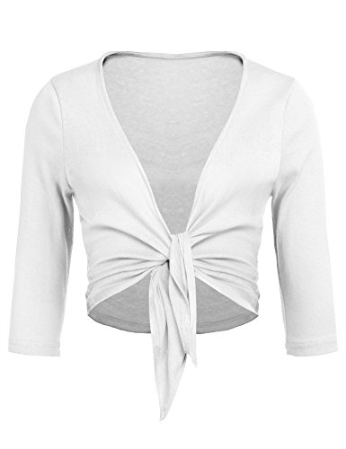(Concep Women's Tie Front Shrug Cropped Bolero Long Sleeve Open Cardigans Plus Size S-XXL (White, M))