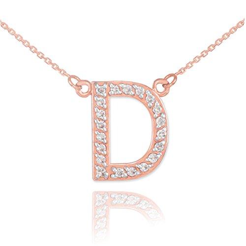 "14 ct 585/1000 Or Rose Initiale ""D"" Diamant Initiale Collier"