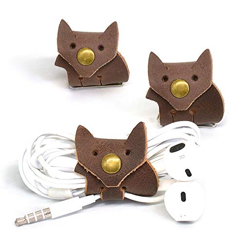 Earphone Wrap Cord - CAILLU cord headphone organizer cable ties,Fox earbud case Tiny leather gadget,earphone case headset wrap winder handmade,cord management,Phone headphone case organizer USB holder,earbuds case clips 3