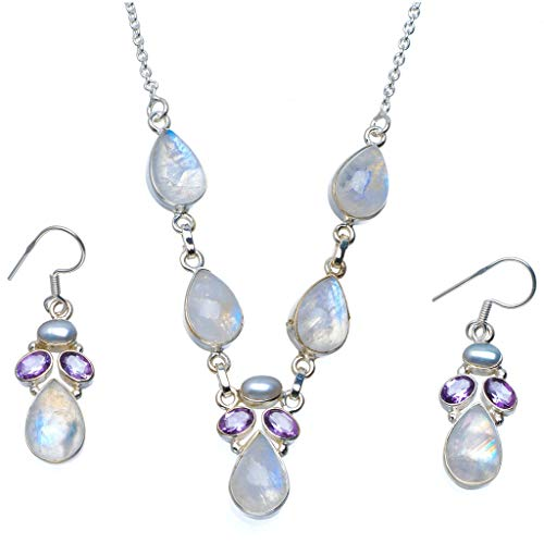 StarGems Natural Moonstone,Amethyst and River Pearl 925 Silver Jewelry Set Necklace 19.5