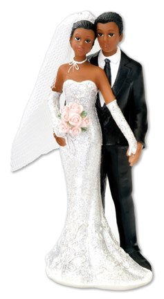 Bride & Groom Traditional Style Resin Decorative Figure / Cake Topper - Black / Afro Caribbean / Mixed Race Couple by Club Green