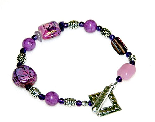 Chunky Purple Bead Medley Bracelet - Raised Dots Toggle (Precious Accents Toggle Clasps)